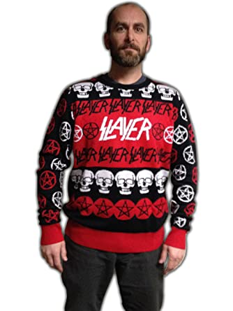 slayer pentagram skulls adult christmas sweater small