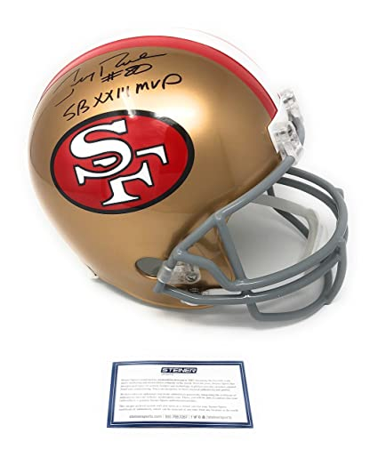 5abe7b3a21e Amazon.com  Jerry Rice San Francisco 49ers Signed Autograph Full Size Helmet  SB XXIII MVP Inscribed Steiner Sports Certified  Sports Collectibles