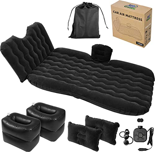 Car Air Mattress – Back Seat Inflatable Portable Bed, Headrest, 2 Pillows, Blow Up Footstools Coolers, Electric Pump – Sleep on Road Trips, Travels, Camping for Couples, Children – SUV Compatible