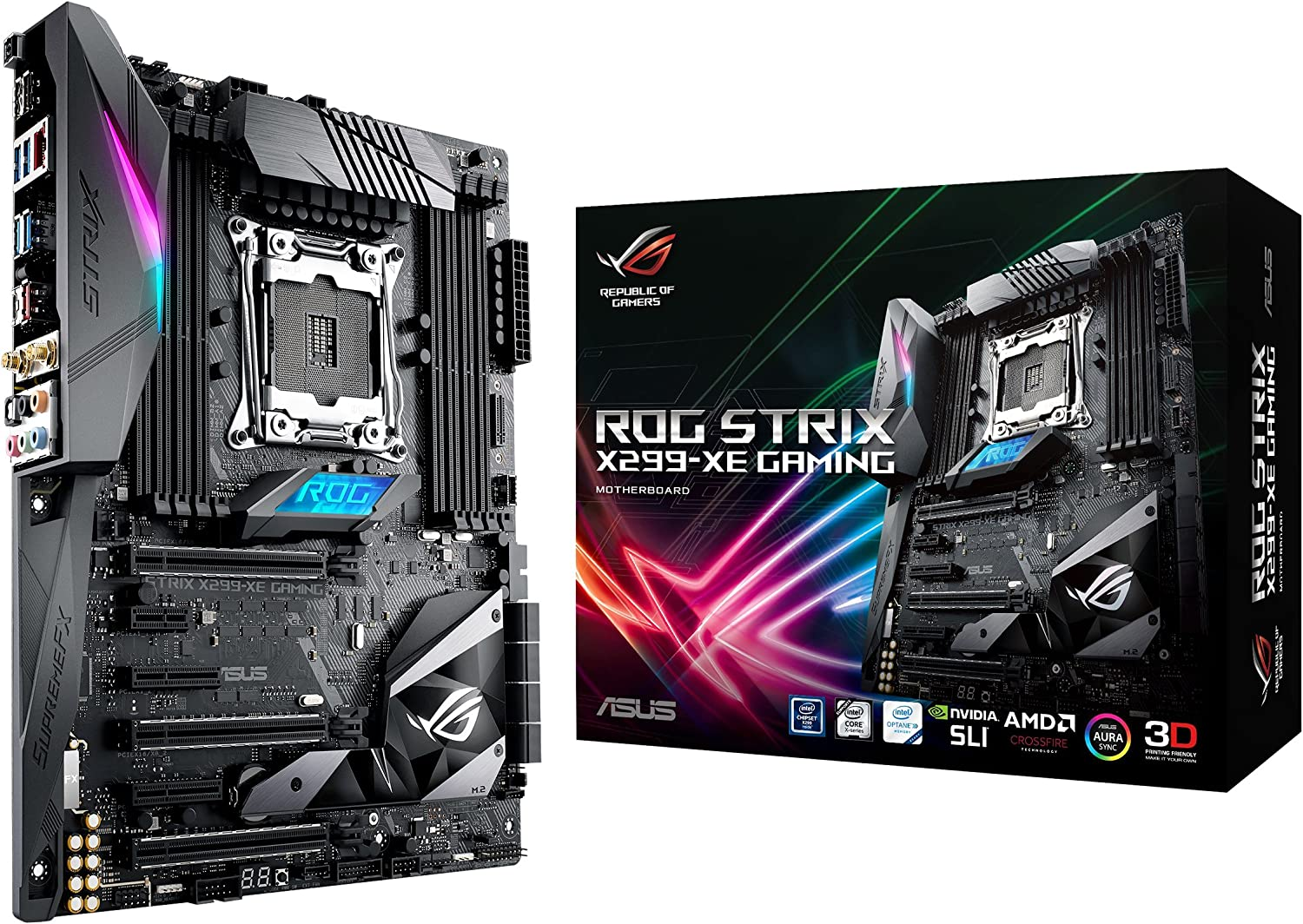 ASUS LGA2066 DDR4 M.2 USB 3.1 802.11AC Wi-Fi ATX with Aura for Intel Core X-Series Processors Motherboards (ROG Strix X299-XE Gaming)