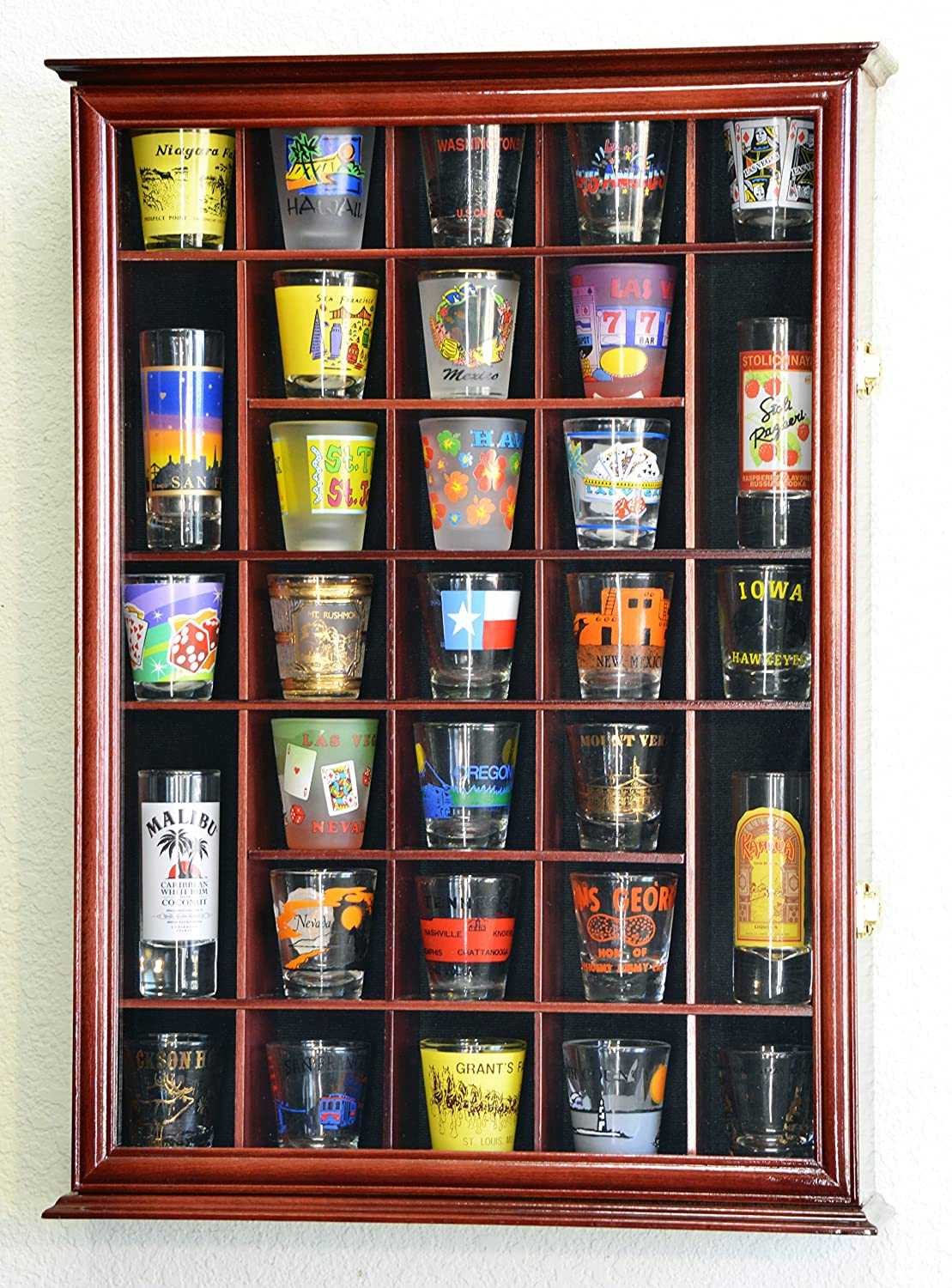 Superbe Amazon.com: 31 Shot Glass Shotglass Shooter Display Case Holder Cabinet  Wall Rack  Walnut: Kitchen U0026 Dining