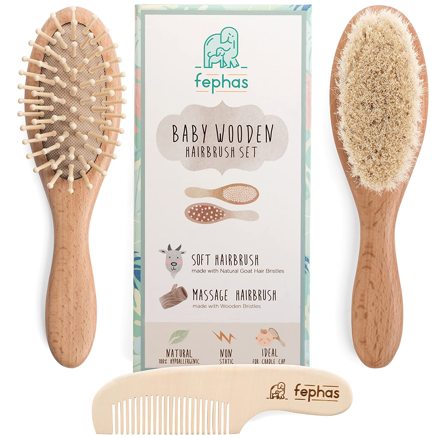 Wooden Baby Hair Brush and Comb Set| Eco friendly Hairbrush Kit for Newborn and Toddler features Organic Soft Goat Hair for Cradle Cap- Natural Wood Bristles Brush| Ideal for Baby Registry/Shower Gift fephas