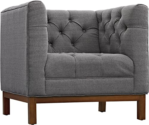 Modway Panache Upholstered Fabric Modern Tufted Sofa and Armchair Set in Gray