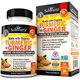 Organic Turmeric & Ginger Capsules with BioPerine Black Pepper for Increased Absorption - 2 Way Muscle & Joint Support Supplement - Designed for Stomach Comfort - for Immune & Cardio Support