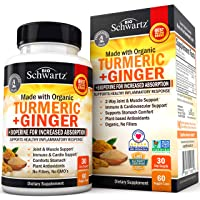 Organic Turmeric & Ginger Capsules with BioPerine Black Pepper for Increased Absorption...