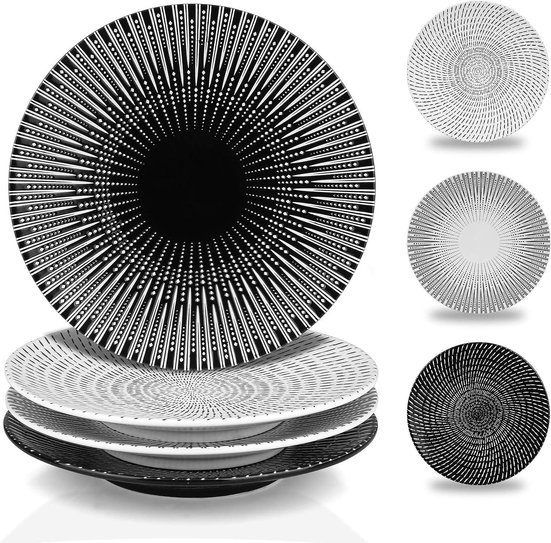 MARSTRACE 8.25 Inch Creative Porcelain Dinner Plates Set of 4,Black and White Multiple Stripes Patterns Ceramic Desserts Plate for Salad Pasta Serving,Microwave Dishwasher Safe