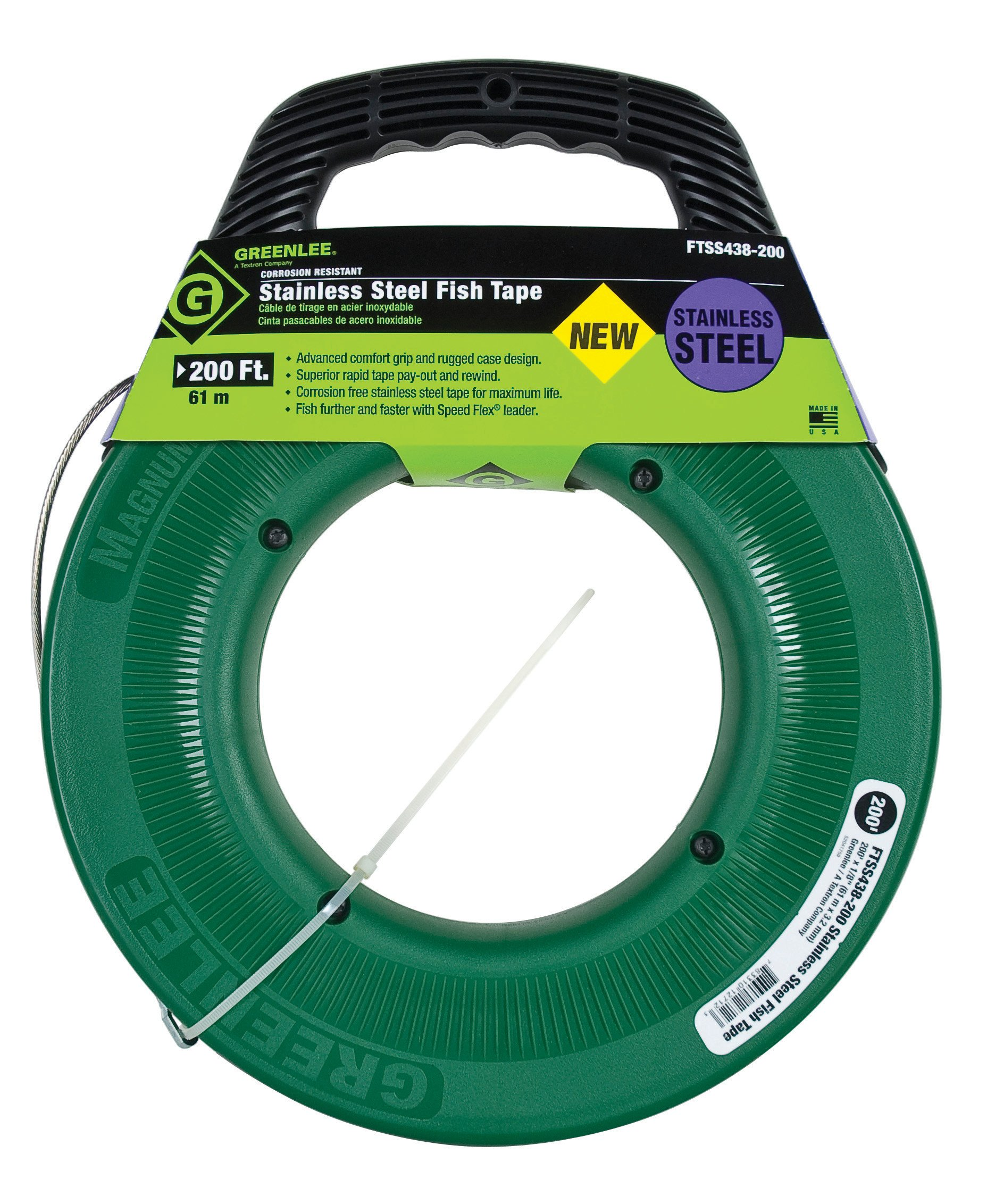Greenlee FTSS438-200 Stainless Steel Fish Tape, 200-Feet x 1/8-Inch
