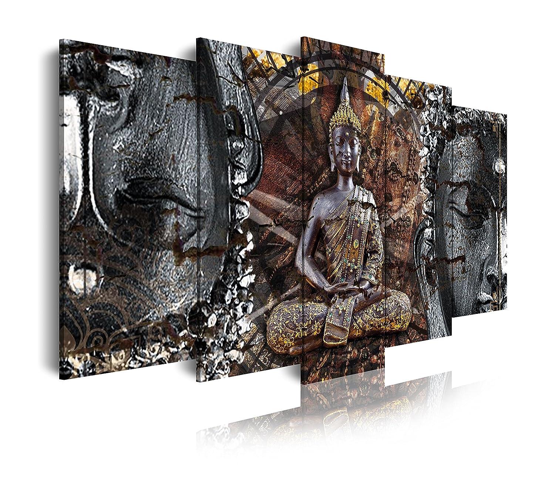 Dekoarte 318 - Quadro moderno su tela montato su telaio di legno di 1 pezzi, stile zen-feng shui Budda, 120x80cm