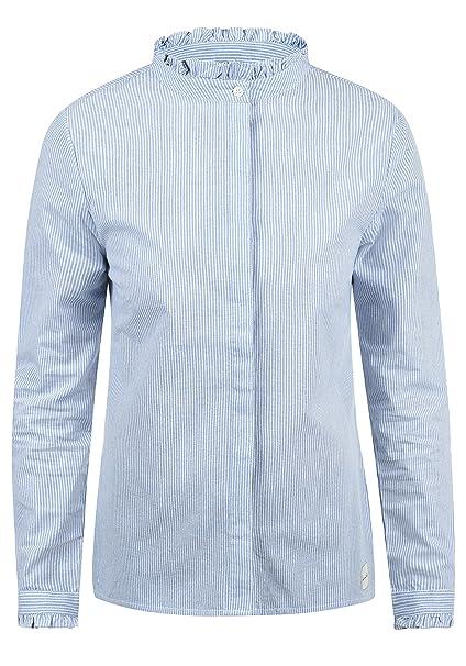 f932ef5963ab BlendShe Stella Damen Lange Bluse Hemdbluse Langarm Mit Stehkragen Und  Streifen-Muster Aus 100%