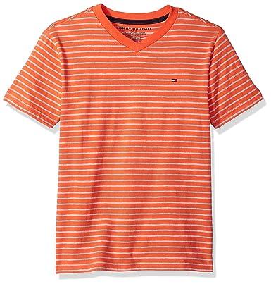7ef96384 Tommy Hilfiger Boys' Short Sleeve Vneck Striped Tee T-Shirt, Hot Lava,