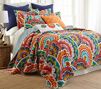 Amazon.com: Serendipity King Quilt Set Orange, Navy Multicolored ... : multi colored quilt bedding - Adamdwight.com
