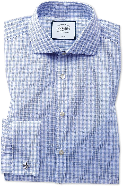 Charles Tyrwhitt Camisa Azul Celeste de Sarga Slim fit a Cuadros ...