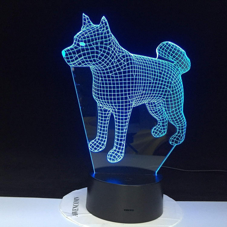 Husky siberiano Perro Luz nocturna LED 3D Ilusión 7 Cambio de ...