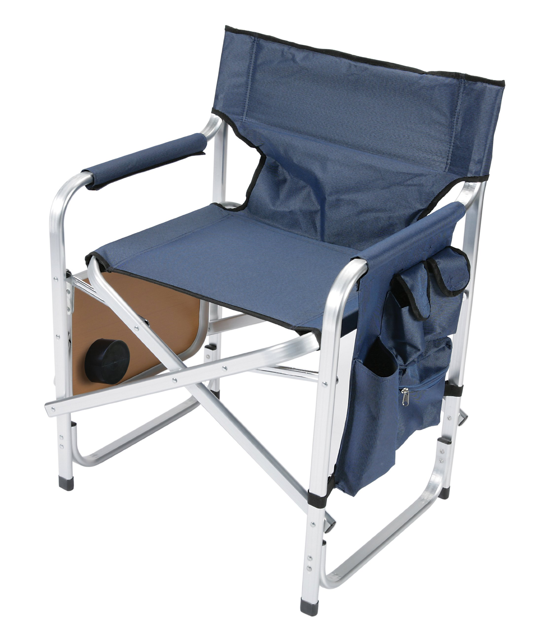 Faulkner Aluminum Director Chair with Folding Tray and Cup Holder, Blue by Faulkner