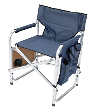 Brilliant Faulkner Aluminum Director Chair With Folding Tray And Cup Holder Blue Beutiful Home Inspiration Aditmahrainfo