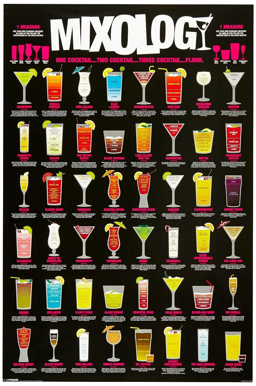 Amazon.com Mixology (Cocktail Recipe Chart) Art Poster