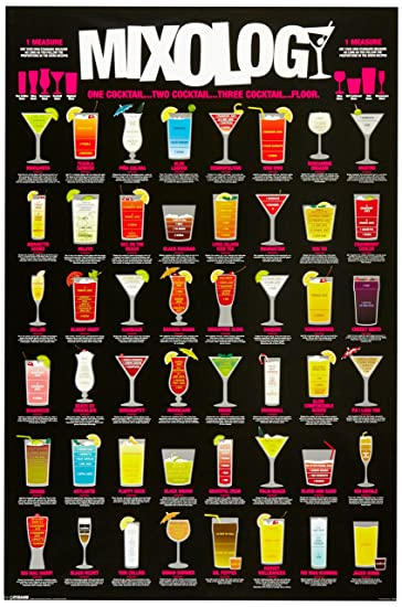Mixology (Cocktail Recipe Chart) Art Poster Print   24x36 Humor Poster  Print, 24x36