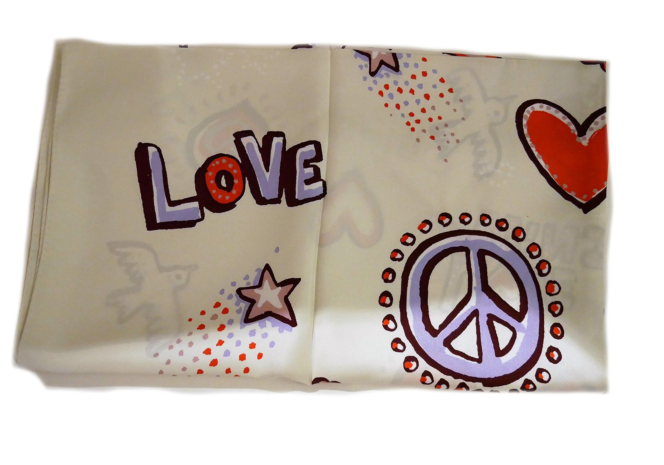 Tory Burch Peace Heart Love Square Silk Scarf