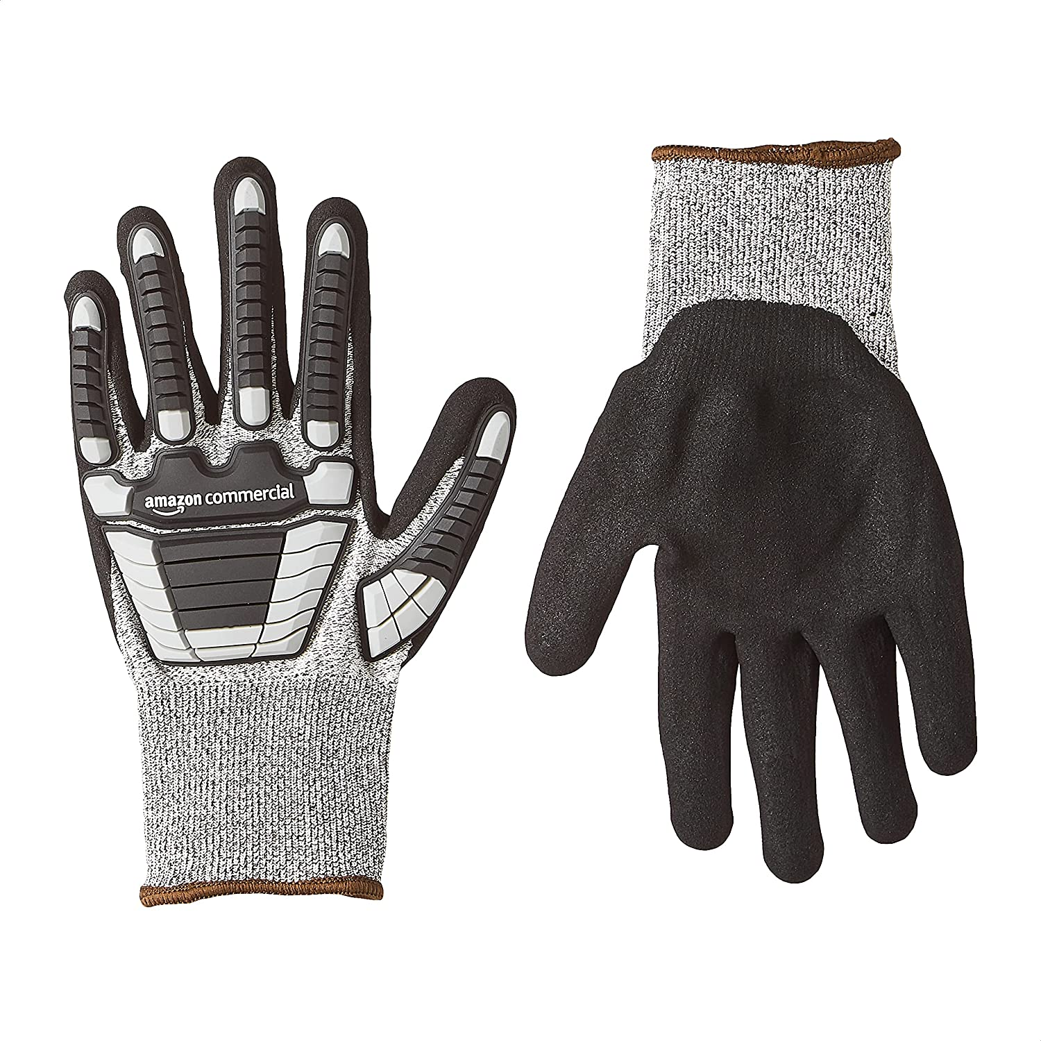 AmazonCommercial 13G SilverSilk & Sandy Nitrile Gloves with Impact Protection (Grey/Black), Size L, 3-Pairs