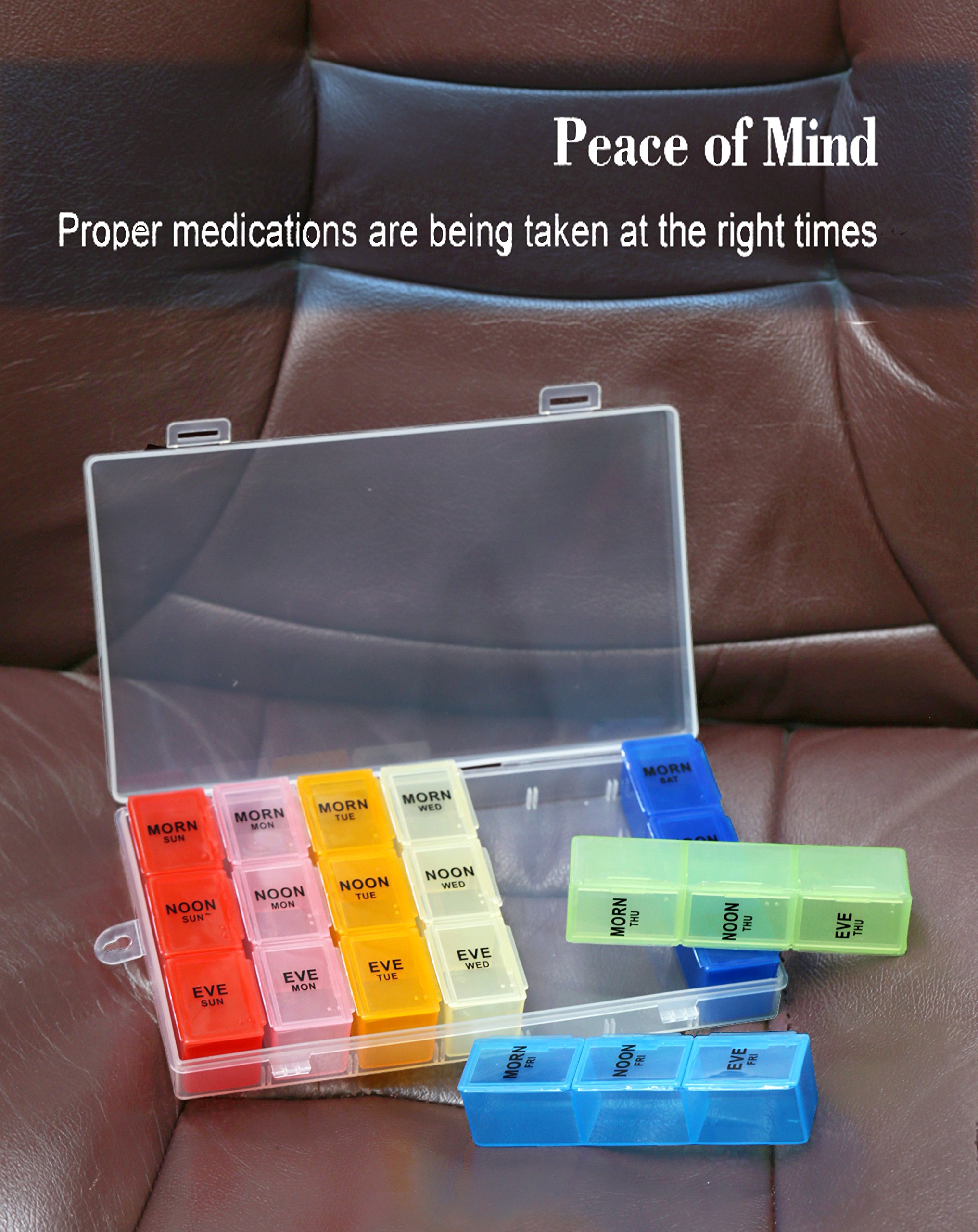 Pill Organizer Box with Snap Lids| 7-day AM/PM | Detachable Compartments for Pills, Vitamin. (Rainbow+60182) by Inspiration Industry NY (Image #3)