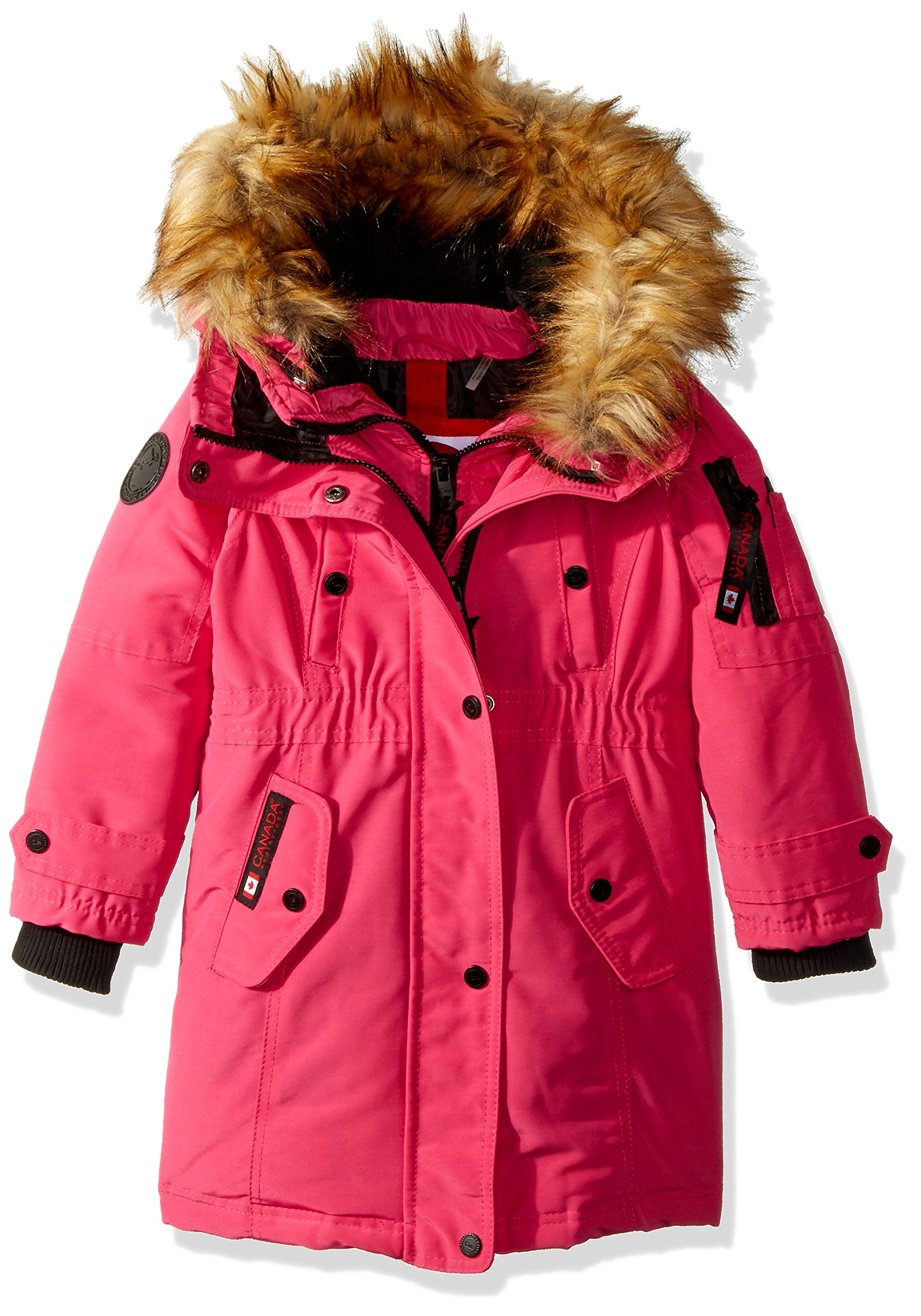 Canada Weather Gear Toddler Girls' Outerwear Jacket (More Styles Available), Hooded Parka-CW046-Fuchsia/Natural, 4T