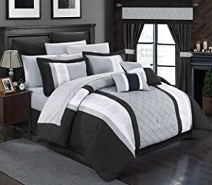 Chic Home 24 Piece Danielle Complete Pin Tuck Embroidery Color Block Bedding, King, Black