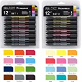 Bundle Buy - Letraset Promarker 12 Pen Set One & Promarker 12 Pen Set Two - Plus 1 Blender Pen in Each Set (Total 26 Pens)