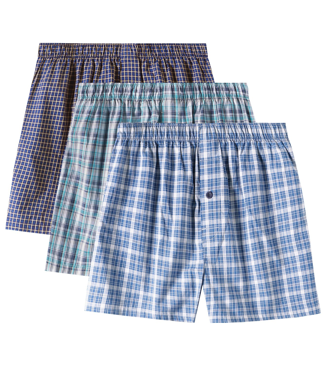 LAPASA Men's Cotton Classic Woven Boxer Shorts Plaid Underwear Button Fly 3 Pack M40 (Multicolor, X-Large)