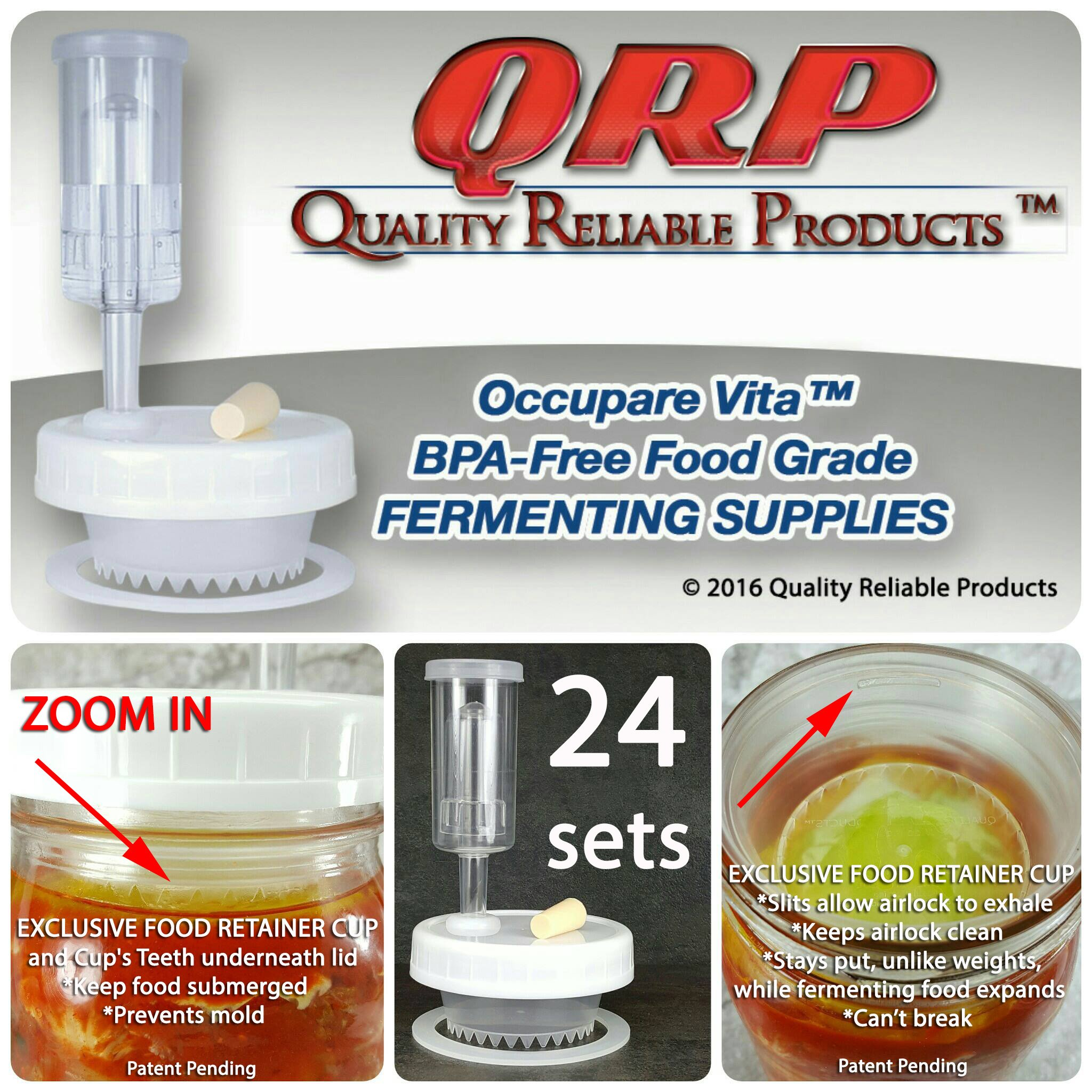 24 QRP No Messy Overflow No Weights Needed Mold-Proof Mason Jar Fermentation Kits with Exclusive Food Retainer Cups keep food submerged in brine (PRO PACK 24 WIDE MOUTH KITS)
