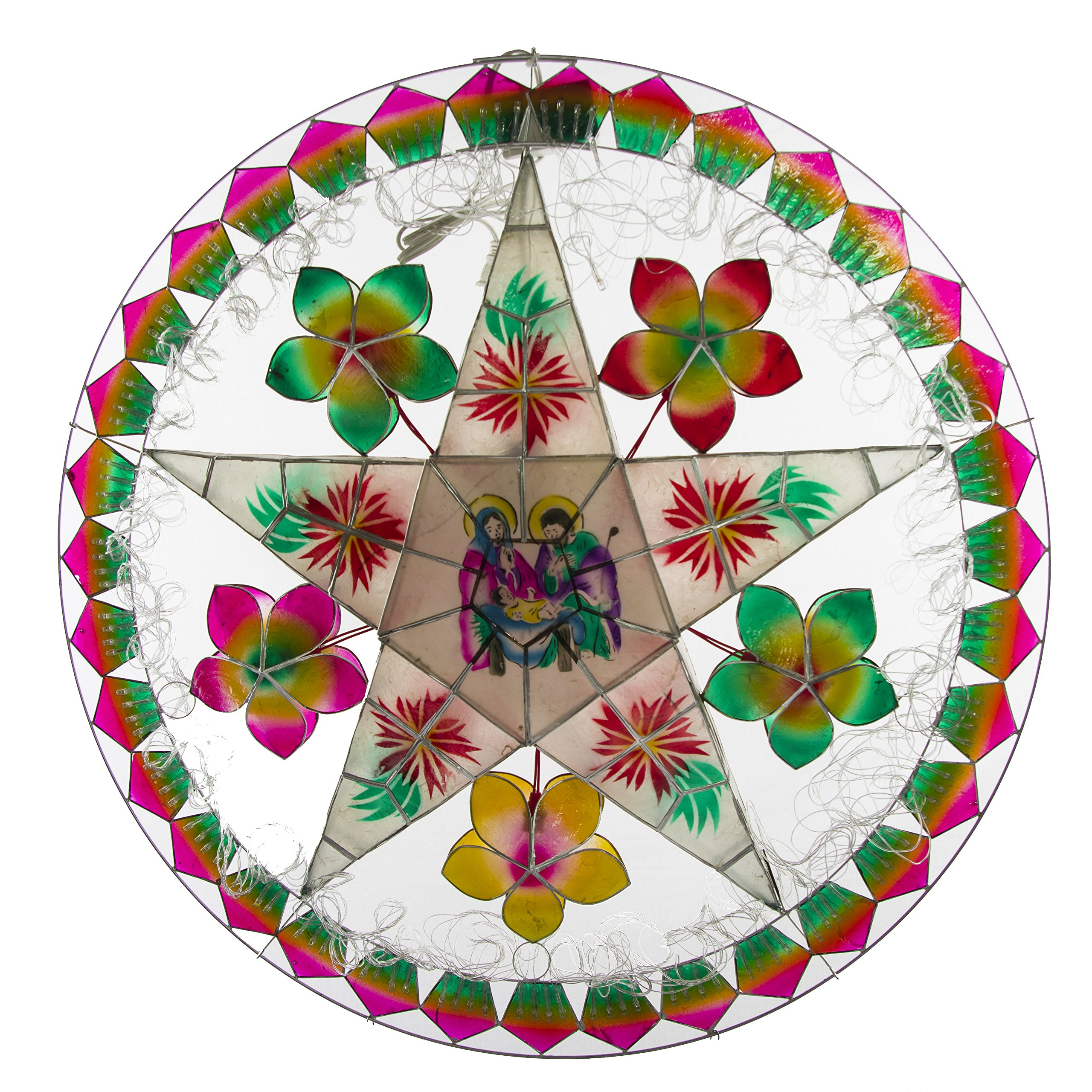 Gift Ko Handmade Nativity/Flower Parol Christmas Lantern 29 inch Multicolored