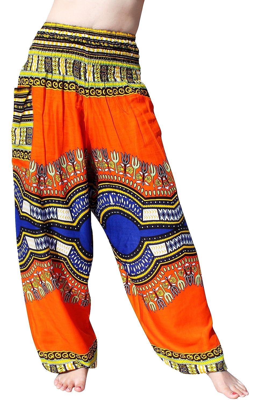 RaanPahMuangブランドスモックウエストレーヨンAfrican Dashikiアート夏ハーレムバギーパンツ B07CRL2HY1 Small|ブライトオレンジ ブライトオレンジ Small
