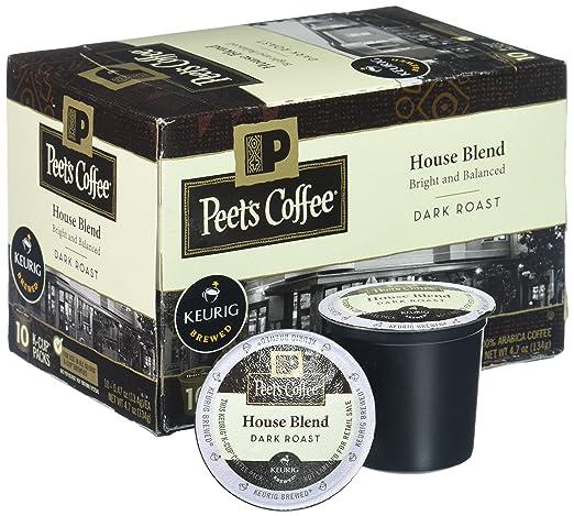 Peet's Coffee K-Cup Pack House Blend, Dark Roast, 10ct: Amazon.com ...