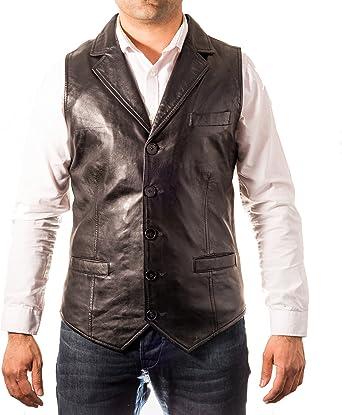 Negro Hombre del Chaleco Cinco BOT—n de Cuero. Estilo œnico Cuello Camisa. Chaleco Elegante. CE–ido al Cuerpo.: Amazon.es: Ropa y accesorios