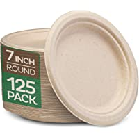 """Stack Man 100% Compostable 7"""" Paper Plates [125-Pack] Heavy-Duty Quality Natural Disposable Bagasse, Eco-Friendly Made…"""