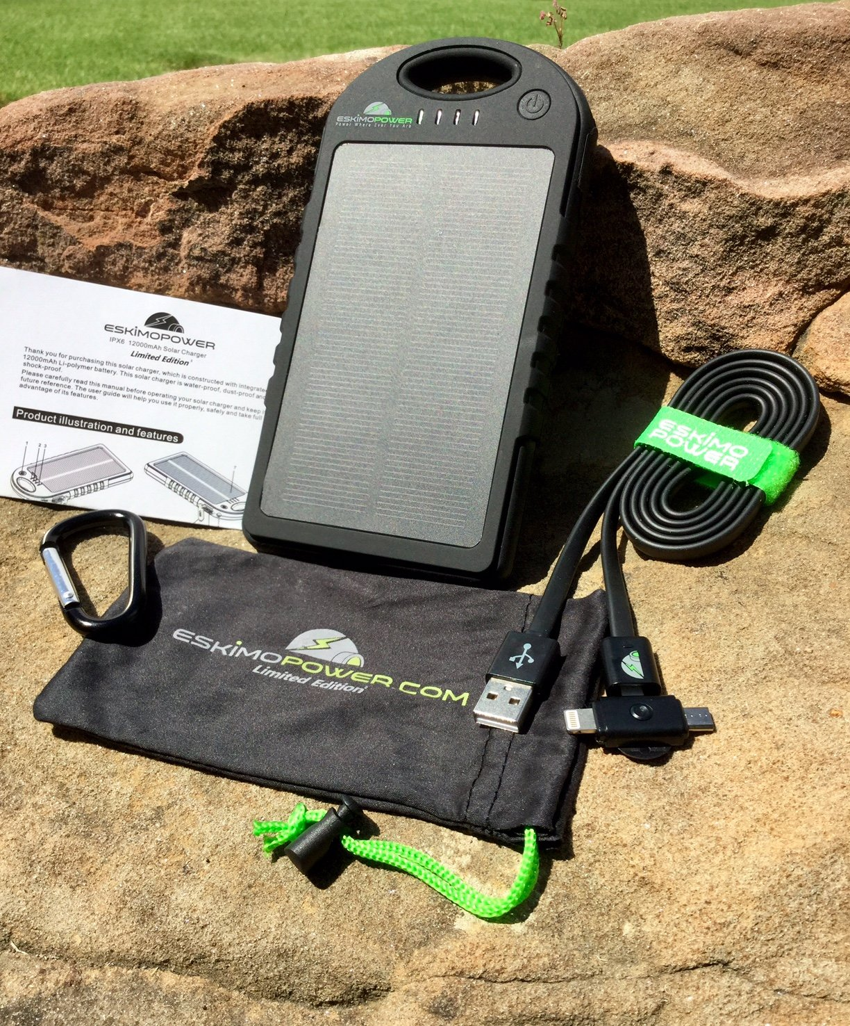 Amazon.com: Solar Phone Charger with 12000 mah Power Bank, BONUS 2 ...