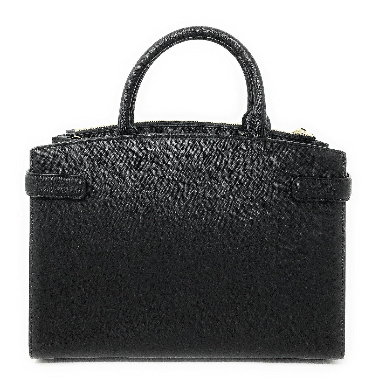 5ecd48be1834 Amazon.com  Michael Kors Karla Medium EW Leather Satchel Bag in Black   Clothing