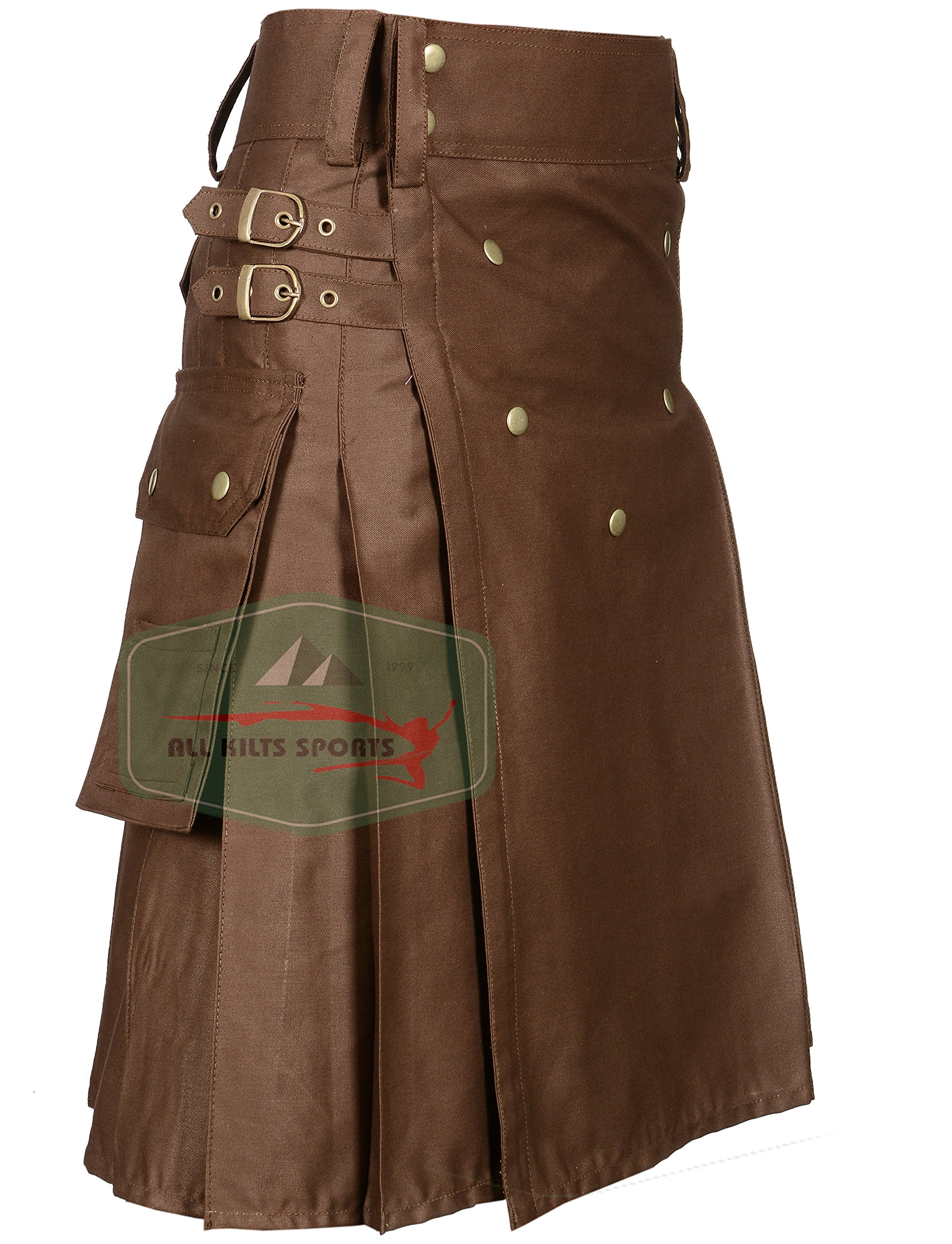 Chocolate Brown New Modern Utility Kilt (34)