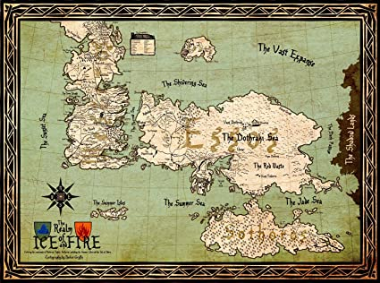 Game Of Thrones Collection Seven Kingdoms Of Westeros Map Large