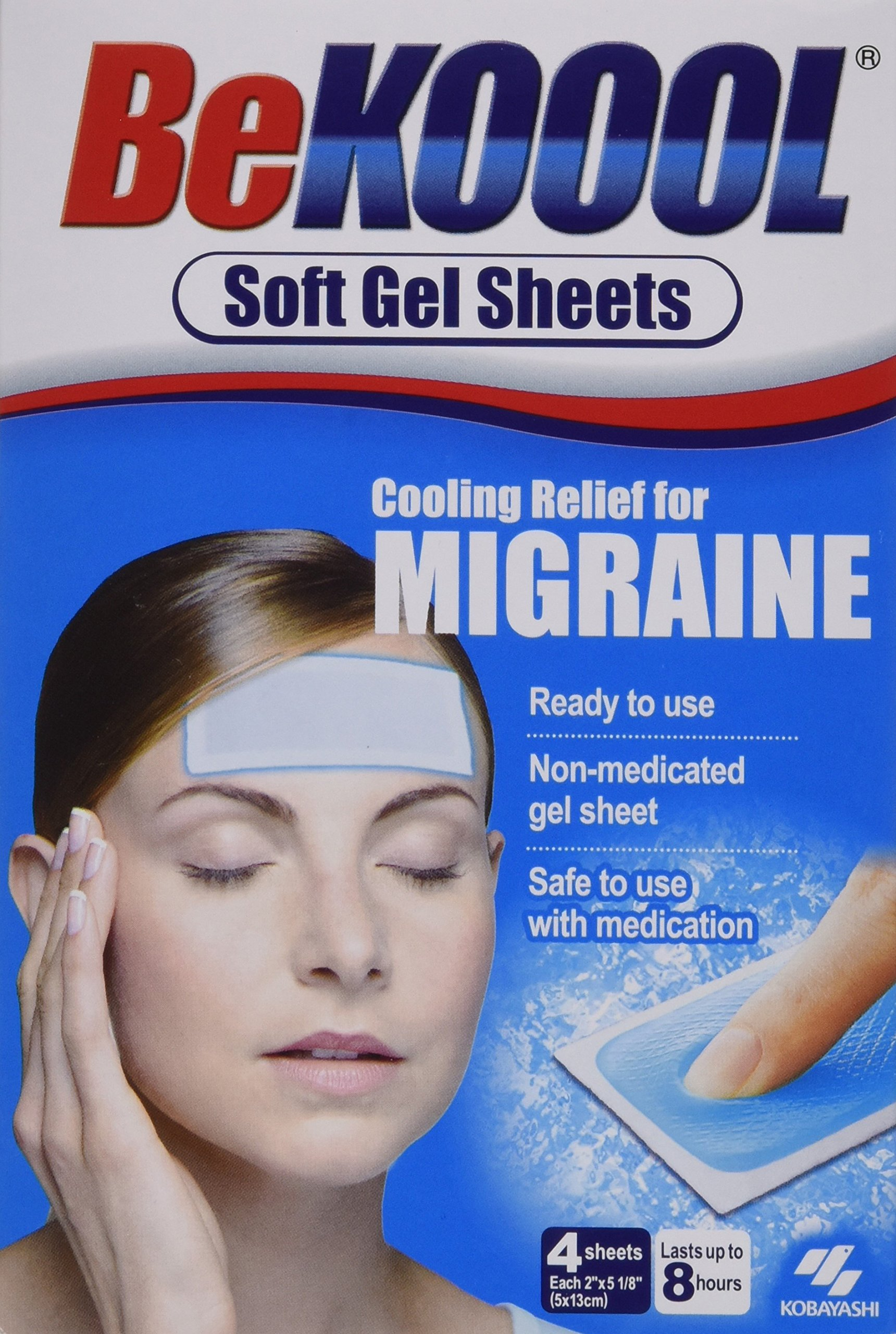Be Koool Cooling Relief for Migraine Soft Gel Sheets 4 Each by BeKoool (Image #1)