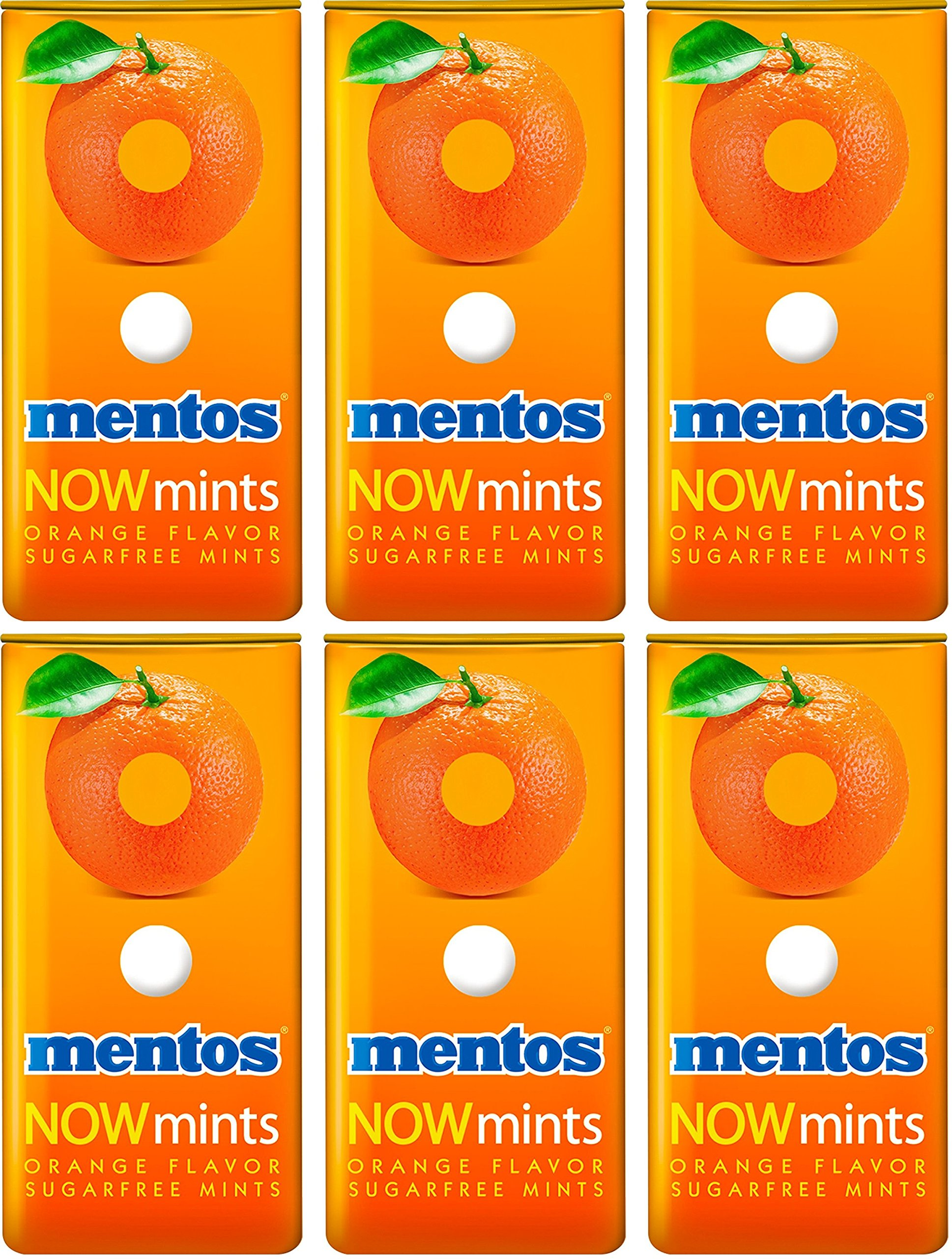 Mentos Now Mints - Orange - Sugar Free - Net Wt. 1.09 OZ (31 g) Each - Pack of 6