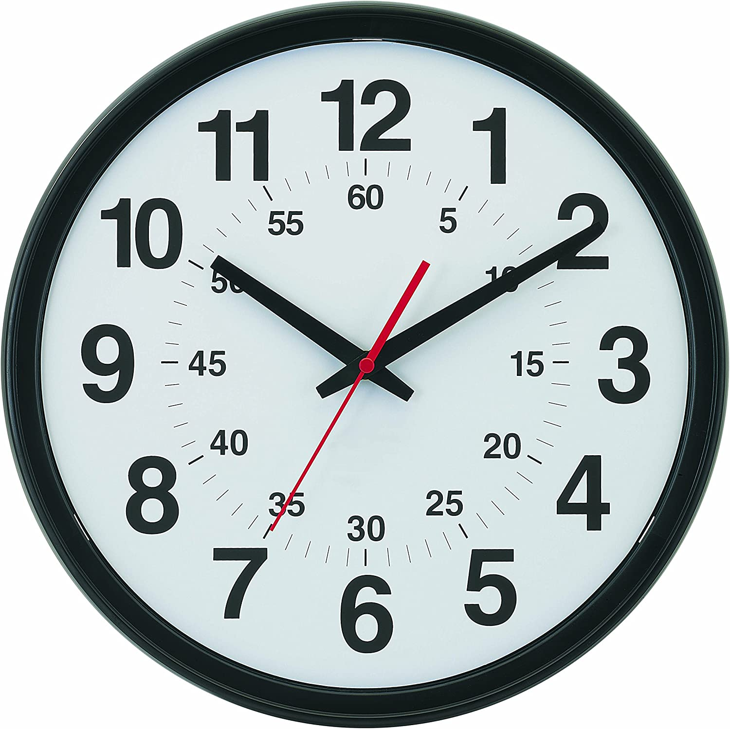 """Tempus Wide Profile Wall Clock with Minute-Minder Dial and Daylight Saving Time Auto-Adjust Movement, 13.75"""", Black"""