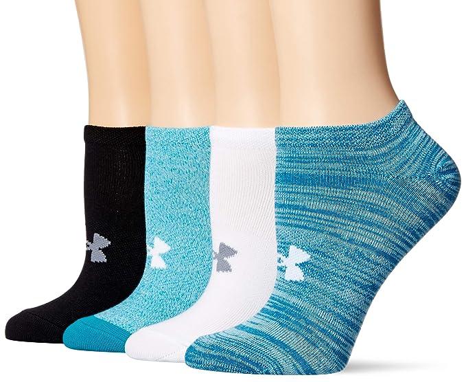 934c33a73e5 Under Armour Womens Essential No Show Socks 4 Pairs, Bayou Blue Assorted,  Medium