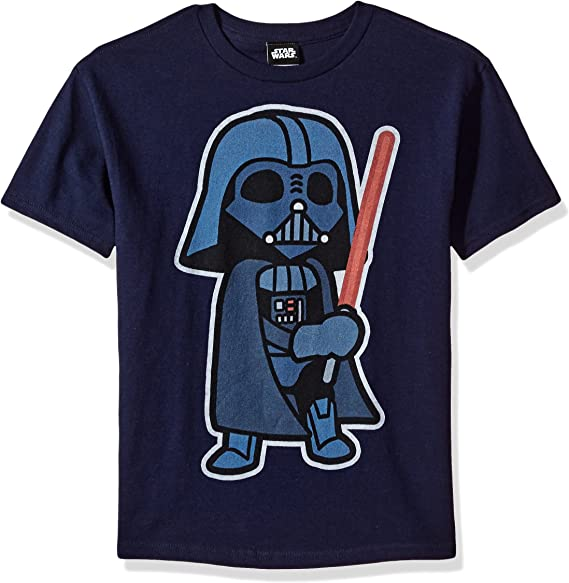 Star Wars Boys Big Imperial Pixelated Logo Vader Trooper Graphic Tee