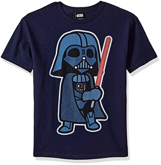 528bf7e46 Star Wars Boys' Big Cartoon Vader Duel Me Saber Graphic Tee, Navy, ...