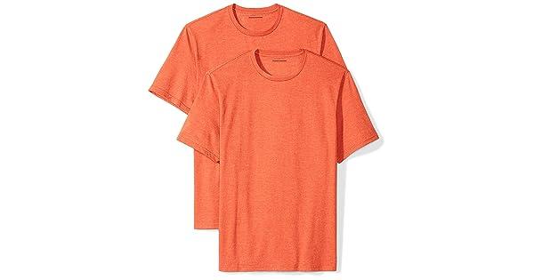 da1757777 Amazon Essentials Men's 2-Pack Loose-Fit Short-Sleeve Crewneck T-Shirts,  orange heather, X-Large