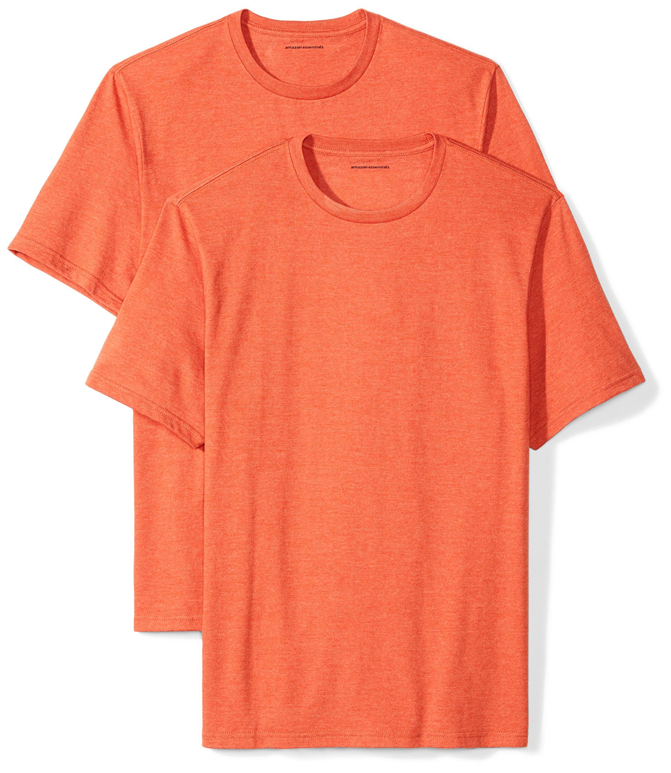 Amazon Essentials Men's 2-Pack Loose-Fit Short-Sleeve Crewneck T-Shirts, Orange Heather, X-Large
