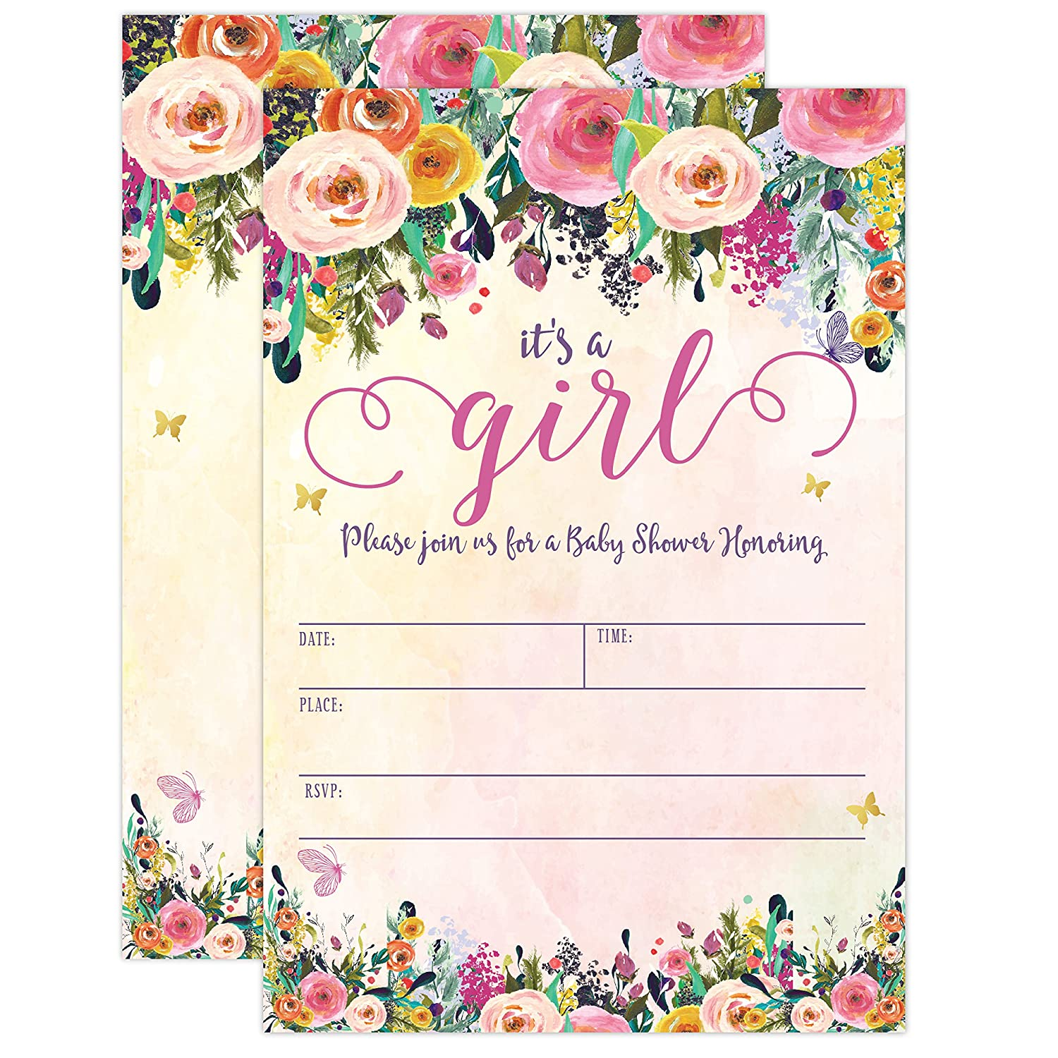 It S A Girl Baby Shower Invitations Girl Baby Shower Invites Floral Butterfly Whimsical 20 Fill In Invitations And Envelopes