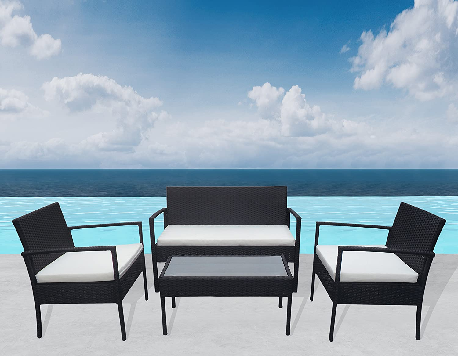 outdoor sitzgruppe greece lounge schwarz gartenset sofa garnitur polyrattan gartenm bel poly. Black Bedroom Furniture Sets. Home Design Ideas