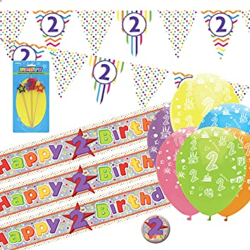 2nd Birthday Kit Bunting Banners Balloons Candle Badge Amazoncouk Toys Games