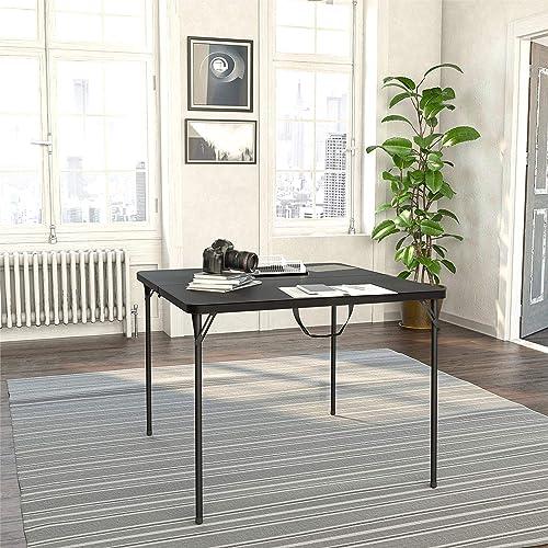 COSCO XL 38.5 Resin Fold-in-Half Card Table, Wheelchair Accessible, Black